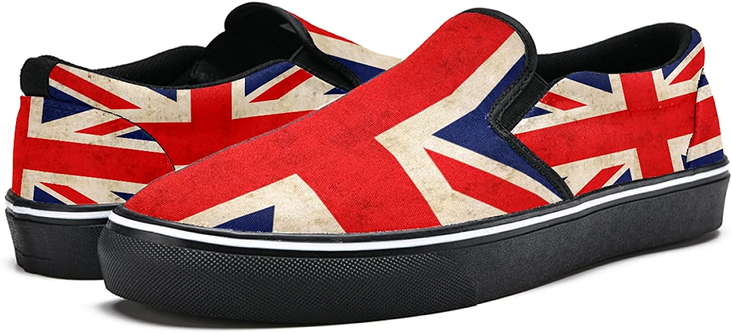 Men's Classic Slip-on Canvas Shoe Fashion Sneaker Casual Walking Shoes Loafers 10 Vintage British Flag