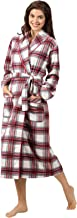 PajamaGram Ladies Bathrobes Soft Fleece - Women's Plaid Robes, Red