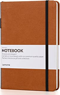 Thick Classic Notebook with Pen Loop - Lemome A5 Wide Ruled Hardcover Writing Notebook with Pocket + Page Dividers Gifts, ...