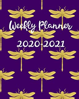 Weekly Planner 2020-2021: 2 Year Calendar, Weekly and Daily Planner for Two Years - Purple & Gold Dragonfly