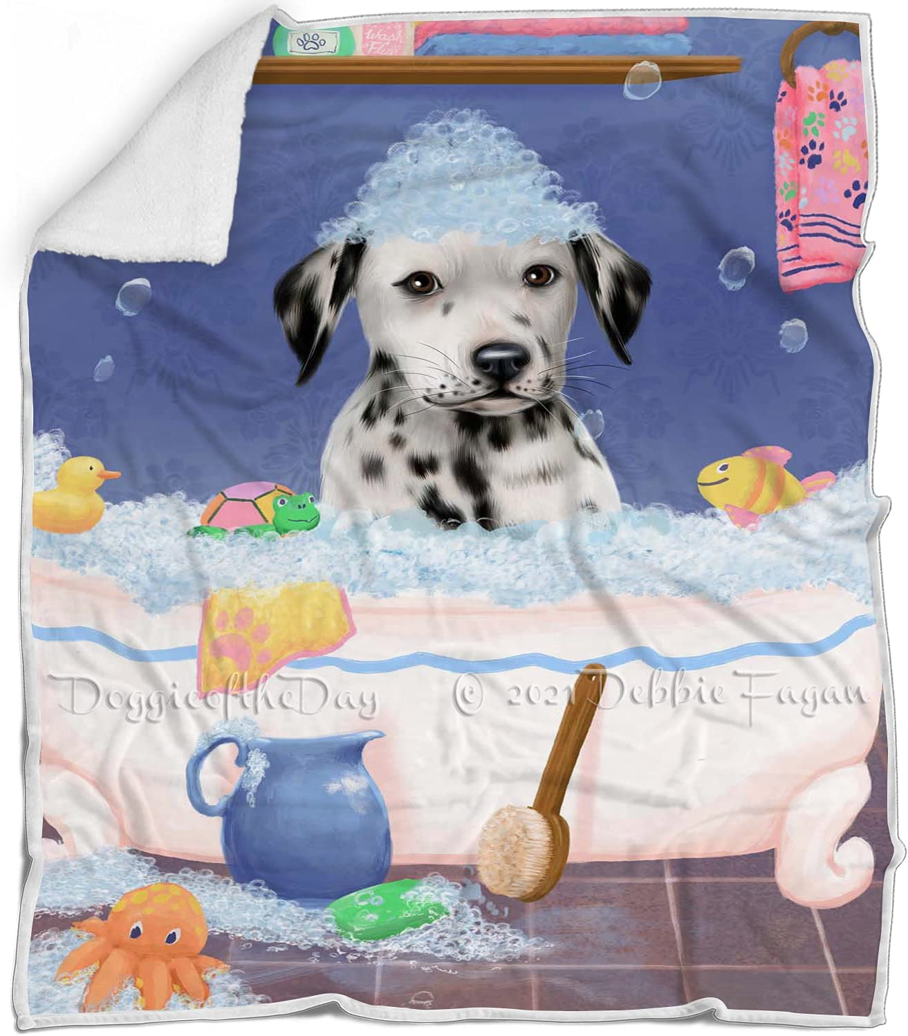 Rub A Spring new work one after another Dub Dog excellence in Tub Blanket Dalmatian Fluffy - Multicolor