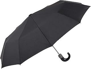 comprar comparacion EZPELETA Paraguas Plegable de Hombre. Automático y con puño Curvo. Tejido Liso Negro - Negro
