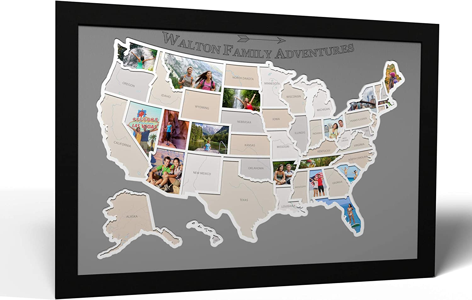 Personalized 50 Regular discount States USA Photo Map in - Louisville-Jefferson County Mall Optional Made Frame