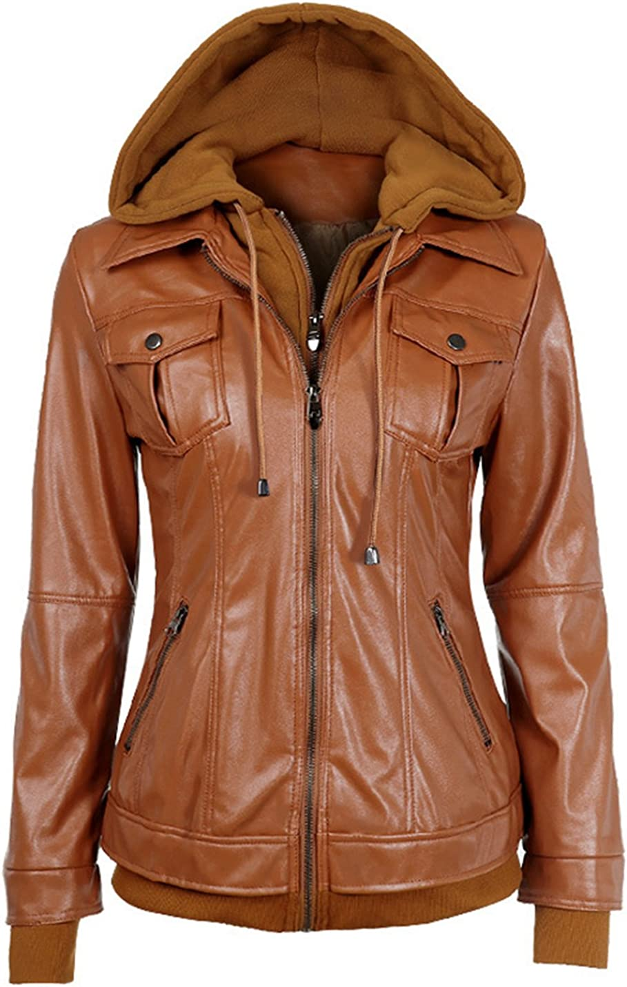 Lentta Women's Casual Zip Solid Color Faux Leather Moto Biker Jacket with Hood
