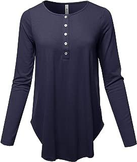 Women's Premium Long Sleeve Dolphin Hem Shell Button Henley Top (S - 3XL)