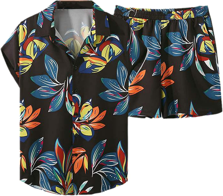 Men Printed Sets Vacation Lapel Short Sleeve Shirt Beach Shorts 2 Pieces Streetwear Casual Hawaiian Suits