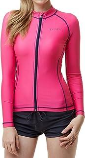 TSLA Women's UPF 50+ Zip Front Long Sleeve Top Rashguard Swimsuit