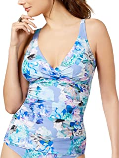 Women's Twist-Front Tummy-Control Tankini Top Chateau Floral Large