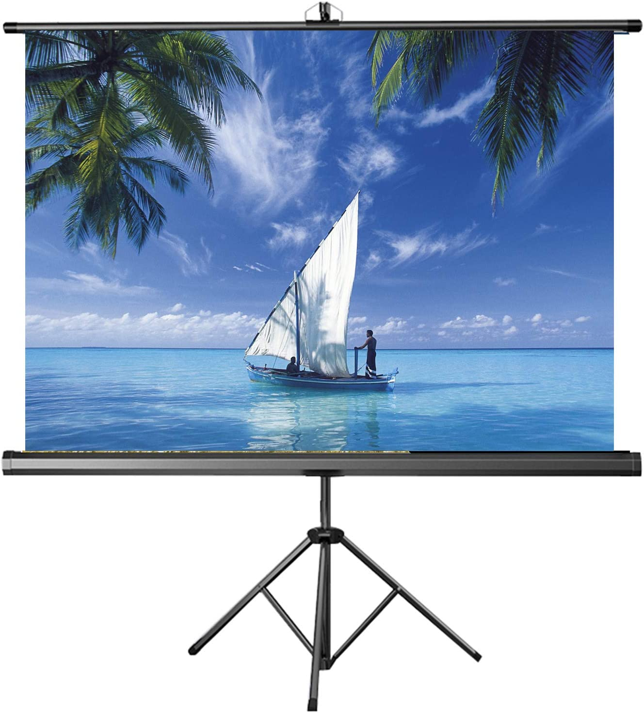 ALDS 60 inch Projection Screen 4:3/16:10/16:9 HD No Wrinkles Tripod Stand Projector Screen for Theater Cinema Meet Fast Assembly Design