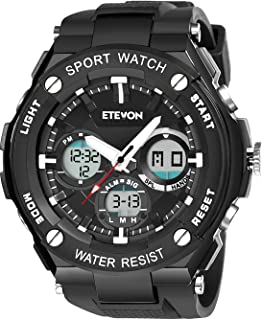 Men's 'Captain' Stylish Outdoor Sport Watch with Thicken Silicone Strap - 30m Waterproof - EL Luminous - Multifunction - Dual Time Display - Quartz Analog Digital Wrist Watches for Men - Black