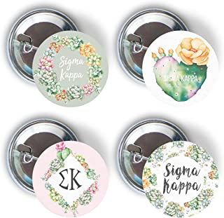 Sigma Kappa Sorority Succulent Floral Variety Pack of Buttons Pin Back Badge 2.25-inch Pi Phi