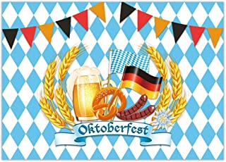 Allenjoy 7x5ft Oktoberfest Backdrop Beerfest Party Celebration Decor Bavarian Beer Festival Bread Wheat Pretzel Sausage Checkered Flag Photography Background Cake Table Banner Photo Booth Props