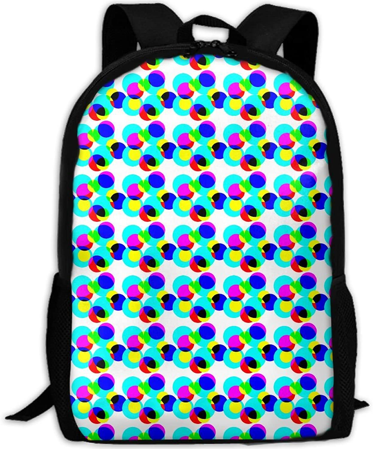 475341bad68a Backpack Travel Hiking School Bags Trippy Acid Circles Daypack ...