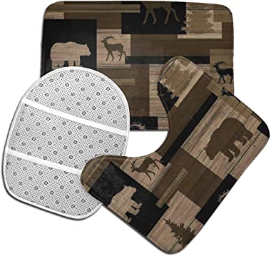 Vbcdgfg Bathroom Rugs Sets 3 Piece Rustic Wood Bear Moose Pattern Non Slip Absorbent Bath Mats U-Shaped Contour Rug Mat & Toi