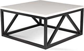 Kate and Laurel Kaya Two-Toned Wood Square Coffee Table with White Top and Black Base