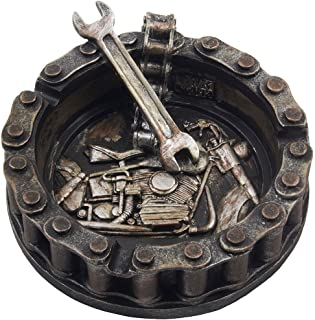 Decorative Motorcycle Chain Ashtray with Wrench and Bike Motif Great for a Biker Bar..