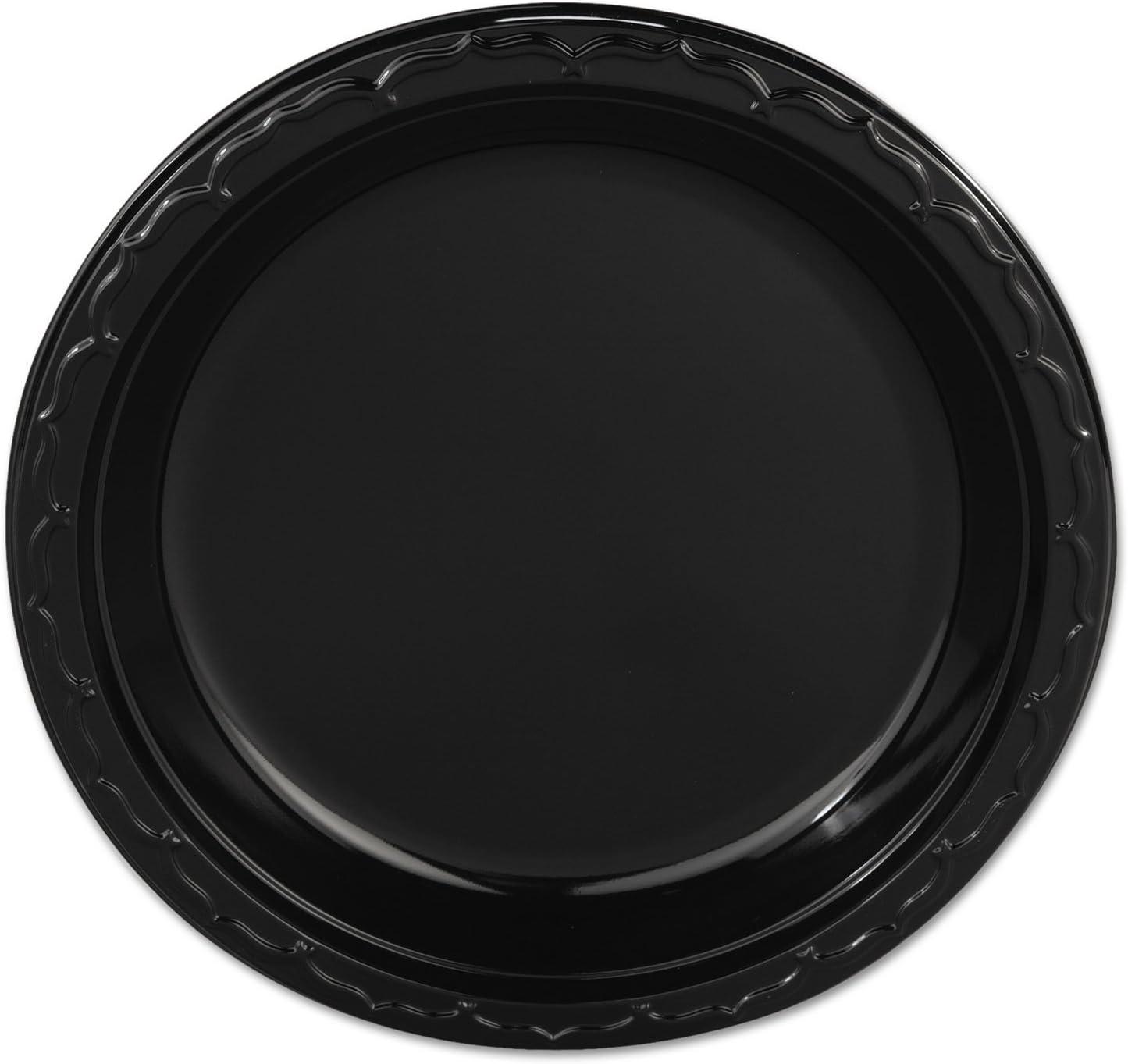 Genpak trend rank trust BLK09 Silhouette Plastic Plates 400 Carton Black 9