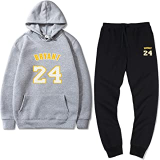 Sweater Hoodie Suit Lakers Team #24 Bryant Men and Women Plus Velvet Pullover Sweater Two-Piece Suit