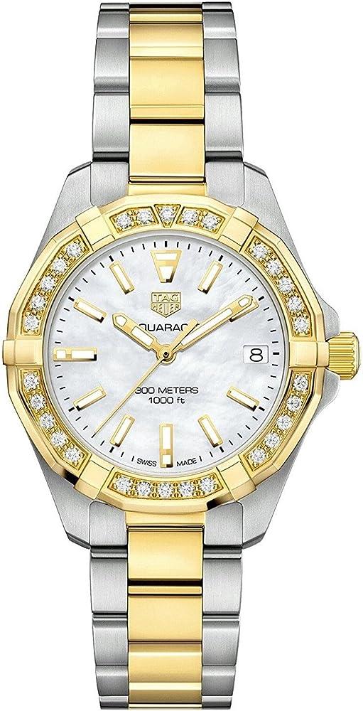 Tag heuer aquaracer, orologio per donna, in acciaio placcato oro 18 kt,e lunetta placcata in oro con diamanti WBD1321.BB0320