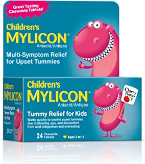 Mylicon Children's Antacid, Tummy Relief Tablets for Kids, Cherry, 24 Count (01055)