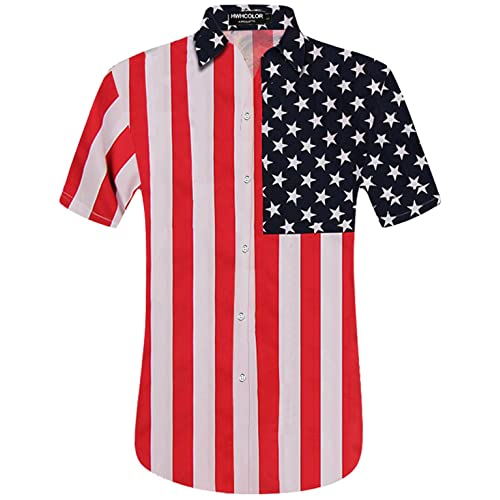 HWHColor Mens Hawaiian Aloha Beach Short Sleeve Shirt Casual Relaxed-Fit Button Down Shirts
