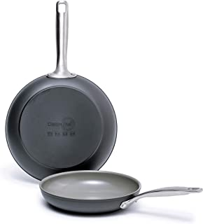 "GreenPan Chatham Ceramic Non-Stick Open Frypan Set, 8"" and 10"", Grey - CC000125-001"