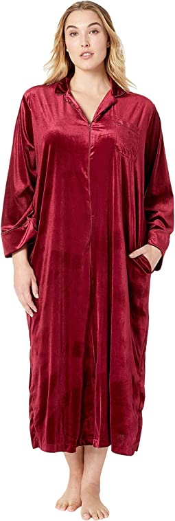 Plus Size Velvet Long Sleeve Notch Collar Zip Front Caftan