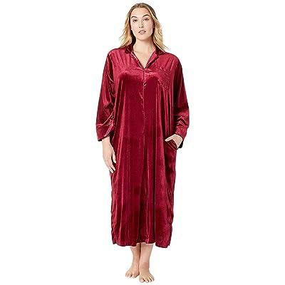 LAUREN Ralph Lauren Plus Size Velvet Long Sleeve Notch Collar Zip Front Caftan (Red) Women