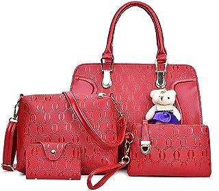 Fanspack 5PCS Handbag Set Cute Bear Decor Big Capacity Shoulder Bag with Clutch Bag Lady