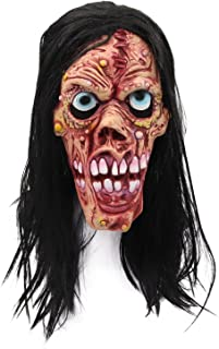 molezu Gruesome Ghost Ghoul Mask with Wigs, Halloween Costume Wicked Devil Scary Mask, Creepy Latex Horror Mask