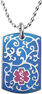 Divoti Deep Custom Laser Engraved Stainless Steel Medical Alert Necklace for Women, Filigree Medical ID Necklace, Medical Dog Tag w/Free Engraving One of Various Chains (24/28 in)-Color Options