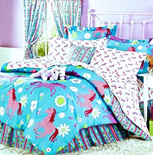 Girls Turquoise Blue & Pink Pony Horse Comforter Set W/Sheets (Bed in a Bag) (Twin Size)