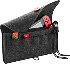 Abaven Nintendo Switch Bag with Game Card Holder, Portable Travel Carrying Case for Nintendo Switch. Dual-layer & 5 Game Card Slots & Lightweight Design also for Phone, Card, Joy-Con Strap etc