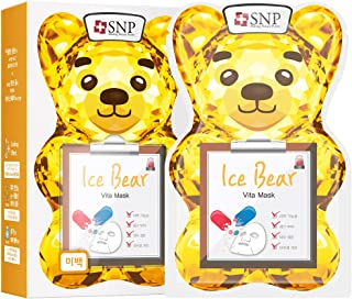 SNP - Ice Bear Vita Korean Face Sheet Mask - Nourishing & Moisturizing Effects for All Skin Types - 10 Sheets - Best Gift Idea for Mom, Girlfriend, Wife, Her, Women