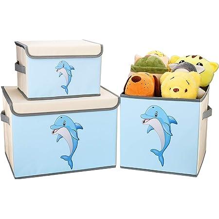 DIMJ Lot de 3 Boîte de Rangement Tissu pour Enfant Jouets, Coffres à Jouets Pliable Caisse de Rangement avec Couvercle et Poignée , Organisateurs pour Jouets,Livres, Vêtements (Bleu)
