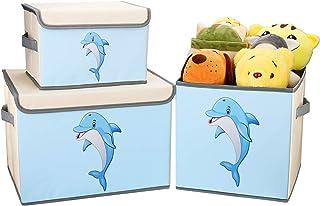 DIMJ Lot de 3 Boîte de Rangement Tissu pour Enfant Jouets, Coffres à Jouets Pliable Caisse de Rangement avec Couvercle et ...