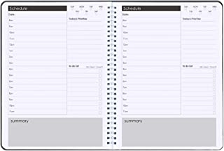 """Daily Planner Non-Dated Hourly Planner 7.3"""" x 10.2"""", Flexible Cover Spiral Notebook Hourly Agenda Planners,Twin-Wire Bindi..."""
