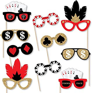 Big Dot of Happiness Las Vegas Glasses - Paper Card Stock Casino Party Photo Booth Props Kit - 10 Count