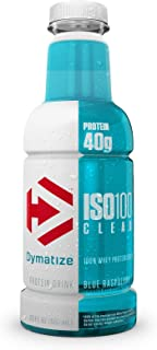 Dymatize ISO-Clear 100% Whey Protein Isolate, Ready-to-Drink, Fast Absorbing & Low Carb, Blue Raspberry, 20 Oz, 12 Count