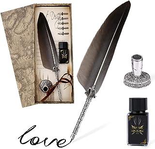 Pluma de Escritura, Joylink Antique Feather Pen Punta Vintage Pinta de Inmersión Metálica 5 Consejos Diferentes, Sobre Vin...