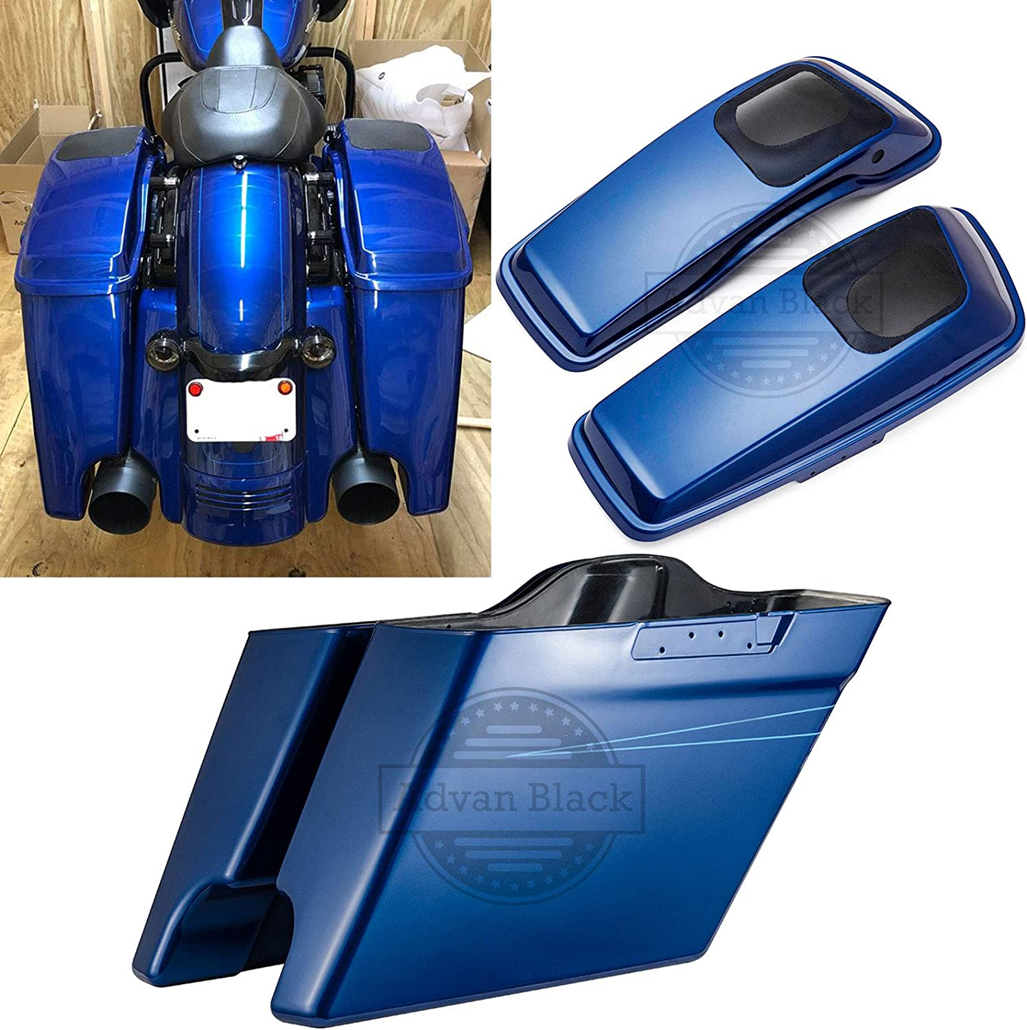 Moto Onfire Sale price Superior Blue 4 1 inch Choice Stretched Saddlebags 6x9 2