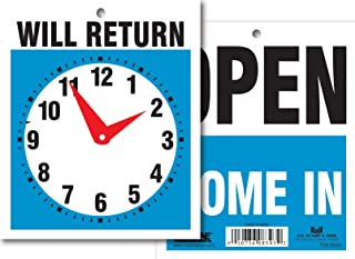 Headline Sign 9381 Double-Sided Open/Will Return with Clock Hands, 5-Inch by 6-Inch