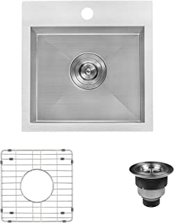 Ruvati 15 x 15 inch Drop-in Topmount Bar Prep Sink 16 Gauge Stainless Steel Single Bowl - RVH8115
