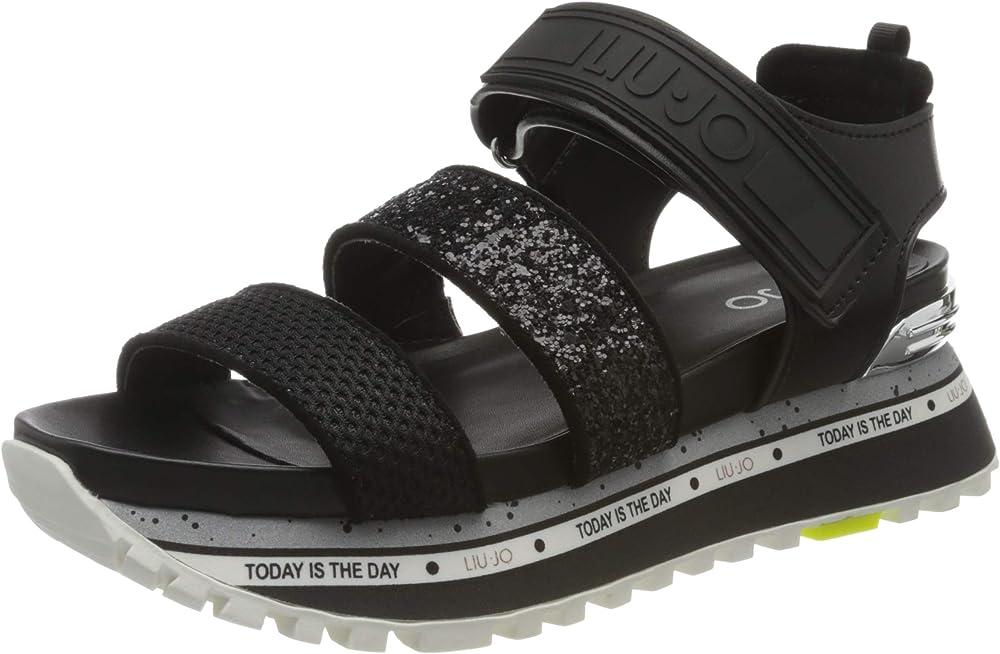 Liu jo jeans sandali zeppa con fasce in ecopelle per donna con dettagli in tessuto glitter e logo in rilievo BXX069TX11522222
