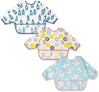 Long Sleeved Baby Bib Waterproof Toddler Bib with Pocket,6-24 Months
