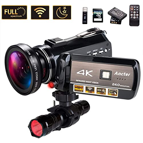 4K Wifi Full Spectrum Camcorders, Ultra HD Infrared Night Vision Paranormal Investigation Video Camera with 60fps 24MP 30X Digital Zoom - Ghost Hunting Camera(with 2 batteries, 32GB SD card included)