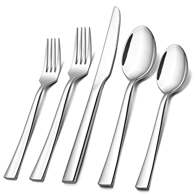 60-Piece Silverware Set, E-far Stainless Steel Flatware Set Service for 12, Tableware Cutlery Set for Home Restaurant Party, Dinner Forks/Spoons/Knives, Square Edge & Mirror Polished, Dishwasher Safe