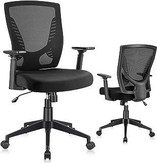 ELABEST Office Chair Ergonomic Desk Chair, Swivel Task Chair with Adjustable Armrest, Soft Sponge Cushion, Lumbar Support,...