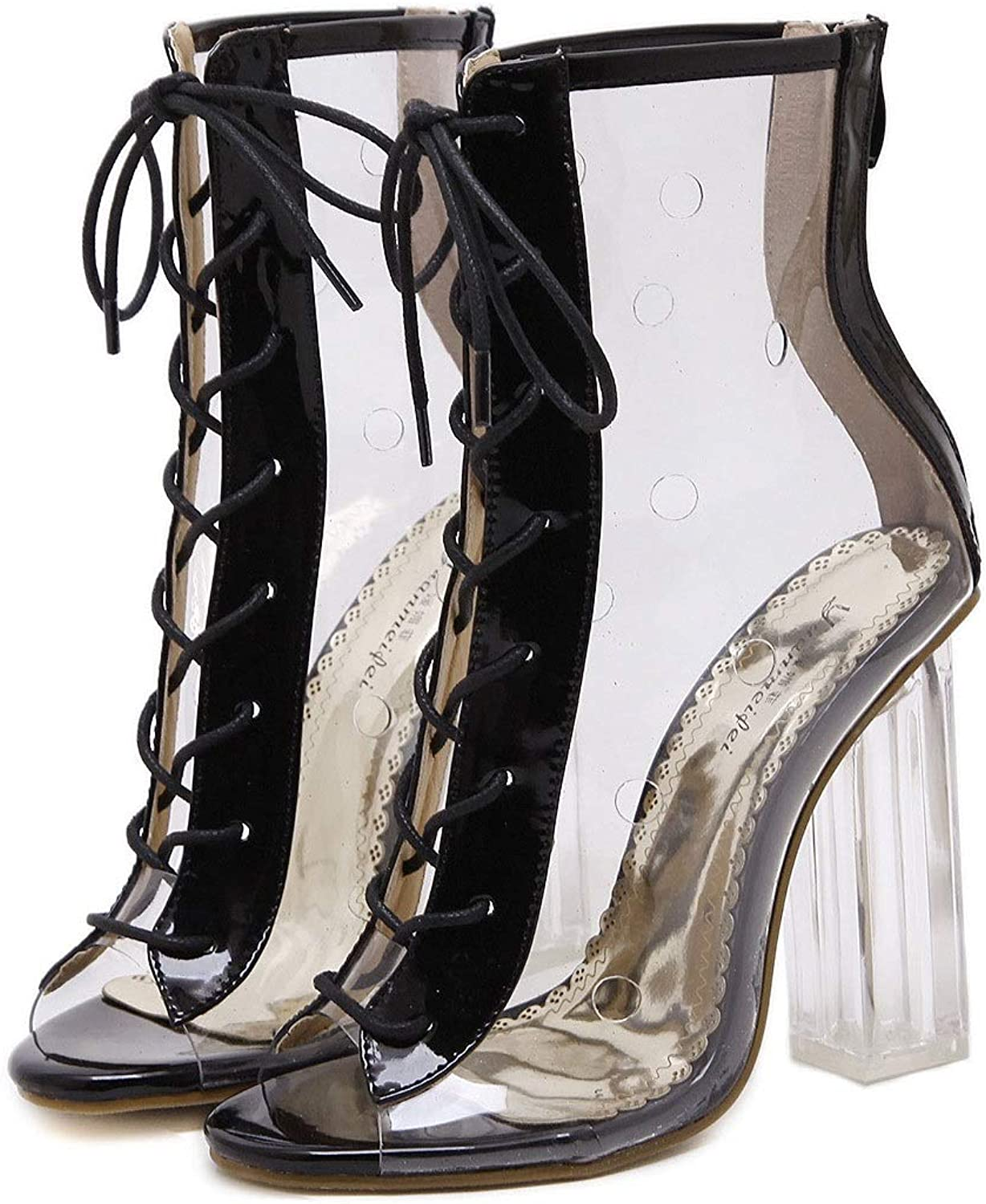 Thick Heel High Heel Transparent shoes Cross Straps Laced Crystal shoes Women's shoes Cool Boots Single shoes (color   Black, Size   5.5 US)
