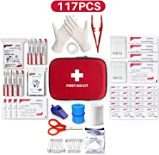 Best First Aid Kit, 117 Pieces Hard Case First Aid Kit Includes Emergency Foil Blanket, CPR Face Mask, Travel, Office, Workplace, Child Care, Hiking, Survival & Outdoor, Suitable For Group Purchasing